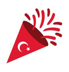 Cumhuriyet bayrami moon and star symbol in cornet vector