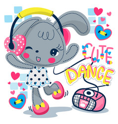Cute rabbit girl listening to music and dancing vector