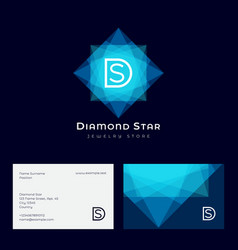 d s diamond star jewelry crystal like star gem vector image