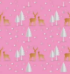 deer with snowflakes seamless repeat pattern vector image
