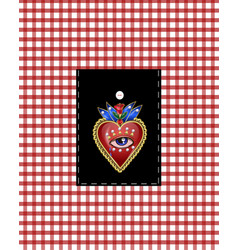Design pocket with traditional mexican hearts vector