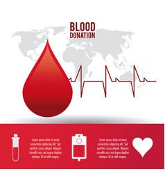 Drop pulse cardio blood donation icon vector