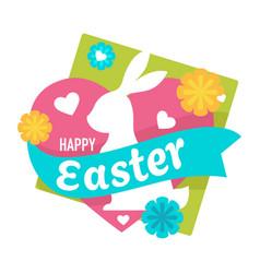 Easter holiday celebration isolated emblem bunny vector