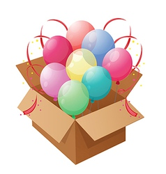 Eight colorful balloons inside a box vector