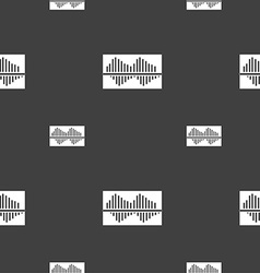 Equalizer icon sign Seamless pattern on a gray vector image