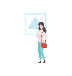 female exhibition visitor viewing modern abstract vector image