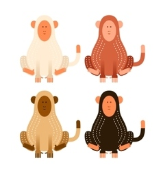 Flat cartoon monkeys vector image
