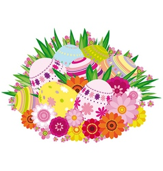 Floral background with Easter eggs vector