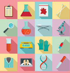 Forensic laboratory icons set flat style vector