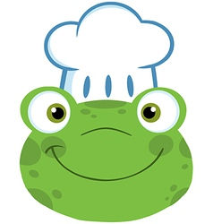 Frog Smiling Head With Chef Hat vector image