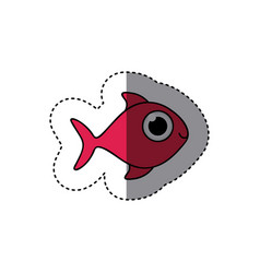 Fucsia happy fish cartoon icon vector
