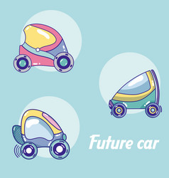 Future cars in round icons vector