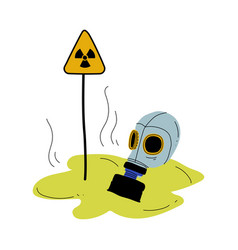 gas mask and warning triangle sign radiation vector image