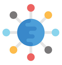 Global network flat icon vector