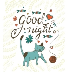 Good night concept card with cute cat flowers vector