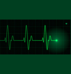 Green heart pulse on black background vector