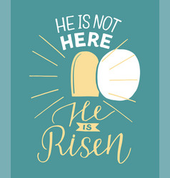 Hand lettering not here he is risen with an open vector