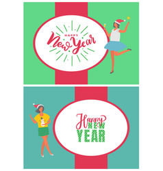 happy new year poster woman in santa claus hat vector image
