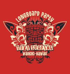 hawaii waikiki tiki longboard surfing team vector image