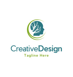 Head tree brain medical creative logo design vector