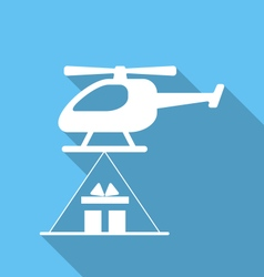 Helicopter delivery cardboard packages vector