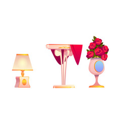 home interior stuff set table vase and lamp vector image