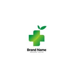 Hospital sign cross logo with leaf vector