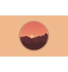 Icon landscape mountain silhouettes vector
