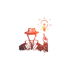 idea man creative solution concept hand drawn vector image