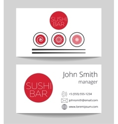 Japanese sushi bar business card template vector