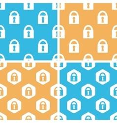 Locked padlock pattern set colored vector image