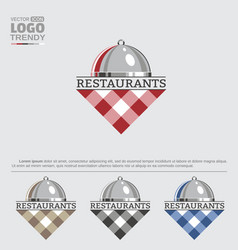 logo with restaurant dish and tablecloth vector image
