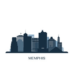 memphis skyline monochrome silhouette vector image