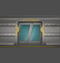 metal door sliding gates in spaceship hallway vector image