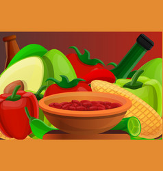 mexican food beans concept banner cartoon style vector image