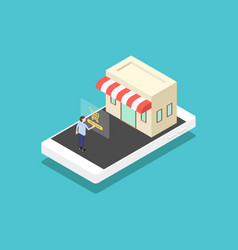Mobile marketing e-commerce business concept vector