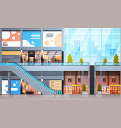 Modern retail store with many shops and vector