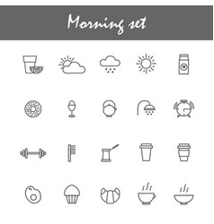 morning icons set with coffe tea breakfast vector image