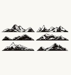 mountains vintage monochrome collection vector image