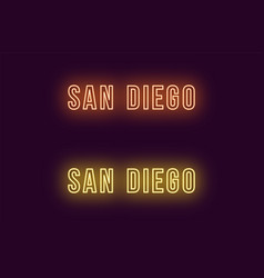 Neon name of san diego city in usa text vector
