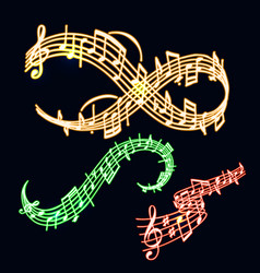notes music neon melody colorful musician vector image