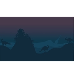 Parasaurolophus in hills scenery vector