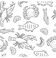 pattern seamless sea products line doodle vector image