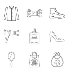 Petticoat icons set outline style vector