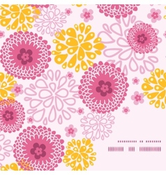 Pink field flowers frame corner pattern background vector
