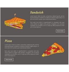 pizza slice and sandwich set vector image