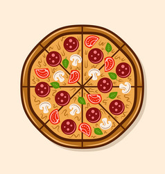 Pizza top view colorful vector