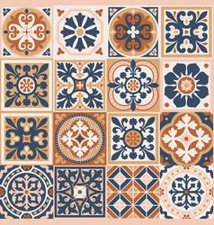 Portuguese floor ceramic tiles azulejo design vector