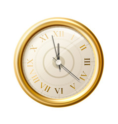realistic golden wall clock greek numbers vector image