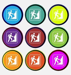rock climbing icon sign Nine multi colored round vector image